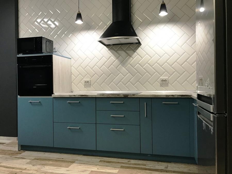 Комбинированные кухни-Кухня из пластика «Модель 373»-фото2