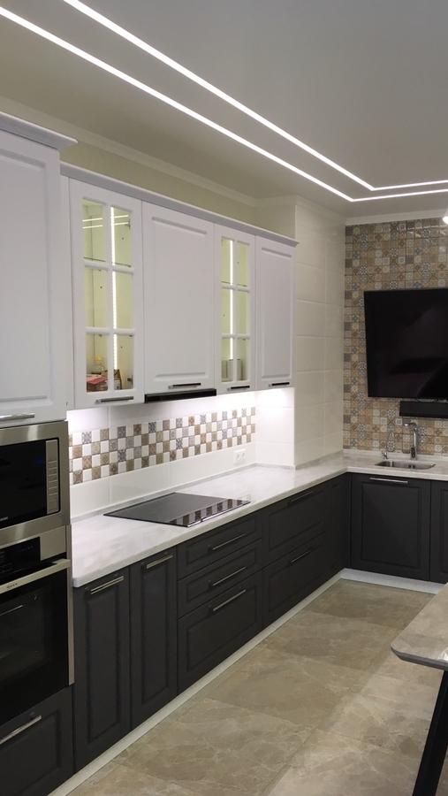 Белый кухонный гарнитур-Кухня МДФ в пленке ПВХ «Модель 505»-фото1