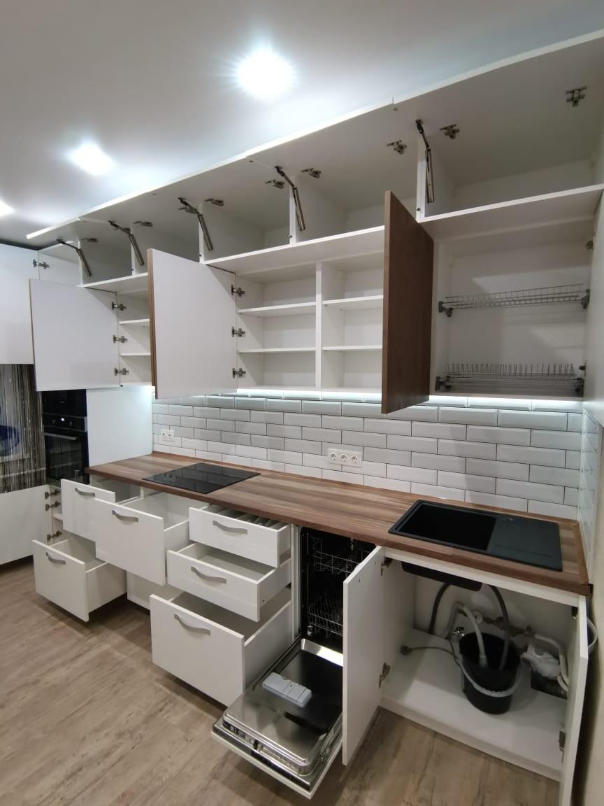 Белый кухонный гарнитур-Кухня МДФ в ПВХ «Модель 577»-фото5