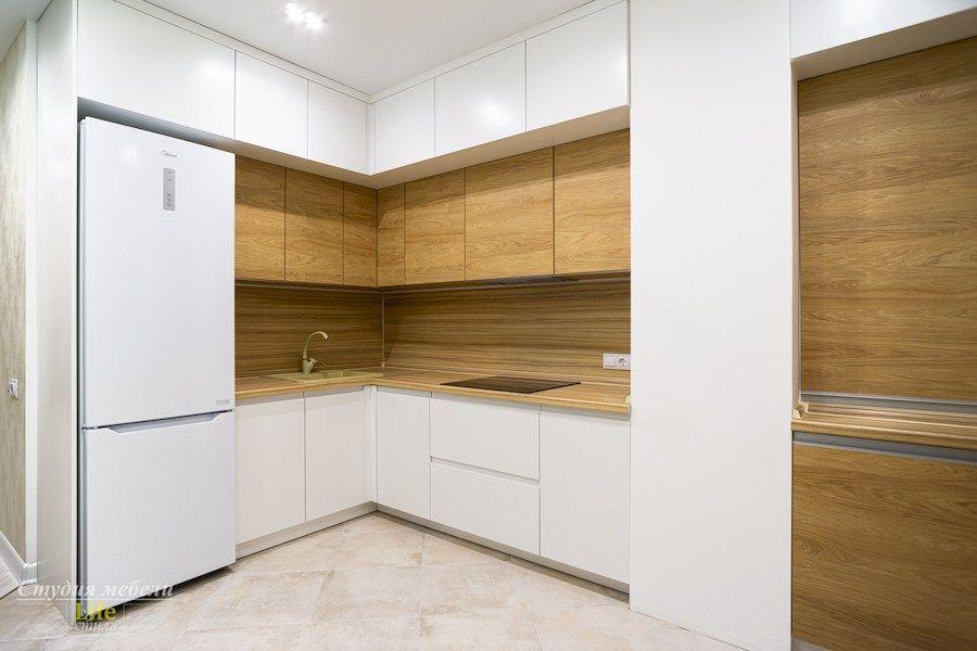 Белый кухонный гарнитур-Кухня МДФ в эмали «Модель 556»-фото2