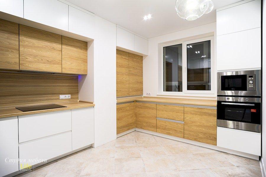Белый кухонный гарнитур-Кухня МДФ в эмали «Модель 556»-фото1